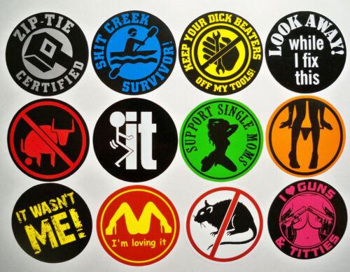 12 Funny Hard Hat Stickers / Zip-Tie Panty Dropper Survivor Beaters Loving It