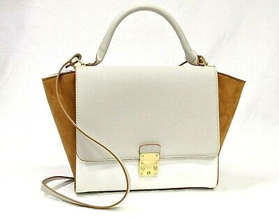 ZARA Woman Purse White Beige Brown Gold Push Lock Faux Leather Shoulder Bag Tote