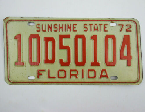 Vintage 1972 Florida License Plate Broward County Passenger Car 2499 lbs or Less