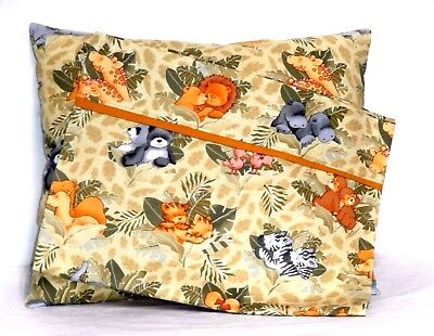 Jungle Babies Toddler Pillow and Pillowcase on Tan Cotton #W