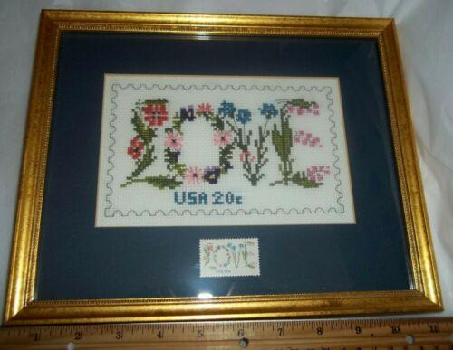 Finished-Framed Cross Stitch-Vintage-1982-USPS LOVE 20 Cent Stamp-Collector