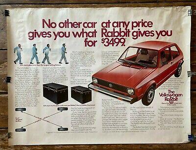 Vintage original dealer advertising poster Volkswagon VW Rabbit 1976 $3499 30x40