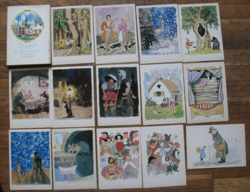 32 Russian Child SET Fairy-tale post card PC Andersen Kid Old USSR Kokorin