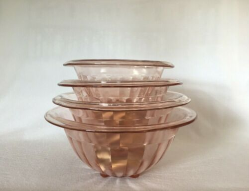 4 Pink Hazel Atlas Paneled Rolled Edge Depression Glass Nested Mixing Bowls