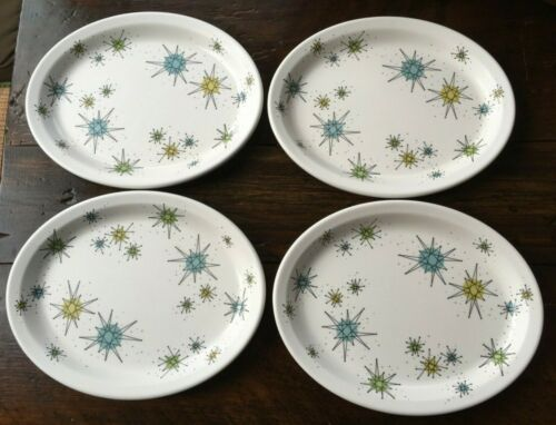 "Lot of 4 One Hundred 80 Degrees Melamine Franciscan Starburst 11.5"" Oval Plates"