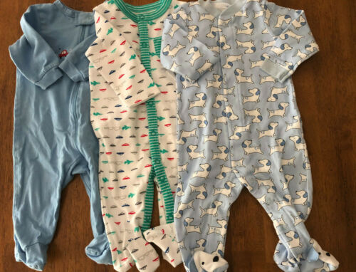 Lot of 3 Boys Size 0-3/3-6 Months Gerber/Child of Mine Cotton Footed Sleepers