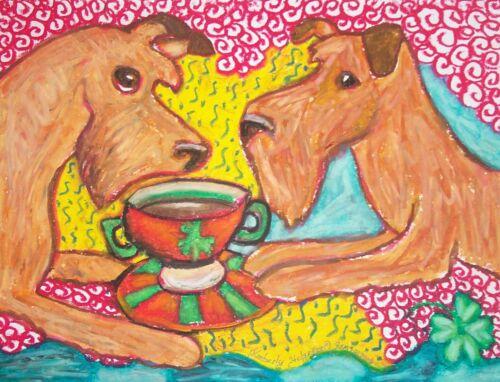IRISH TERRIER Drinking Coffee Dog Pop Outsider Vintage Art 8 x 10 Signed Print