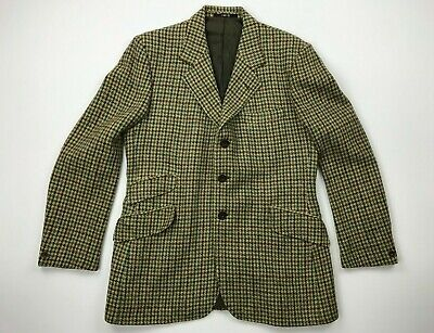 Harris Tweed Sport Coat Blazer Jacket Brown Windowpane Wedding Sz 44 R Excellent