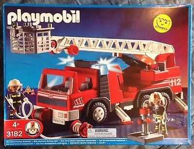 Rare Playmobil 3182 Fire Truck Rescue Ladder New in Box 2001 4+ Boys & Girls