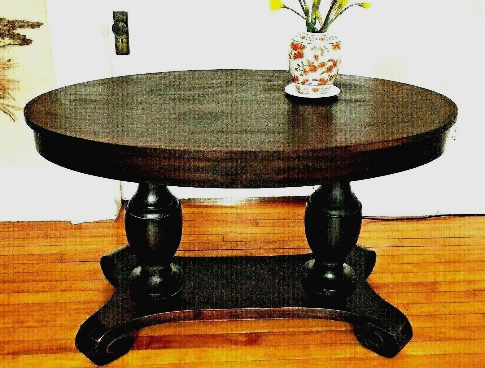 Antique Empire Library Table With Urn Legs  - $699.99