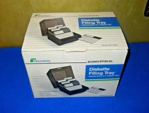 NEW FELLOWES 60  FLOPPY DISK STORAGE BOX  W/ Dividers 5 1/4 Disc File Holder