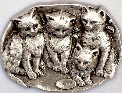 VINTAGE ~STERLING Overlay On Stamped Brass~CUTE KITTENS~CAT Button~ 2 1/16""