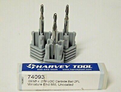 Harvey Tool Miniature Carbide Ball End Mills .093 D X .279 Loc 2fl Qty 3 74093