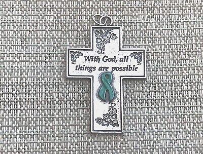 Awareness 1 Ovarian Cancer Awareness Teal Ribbon Pewter Cross Pendant All New
