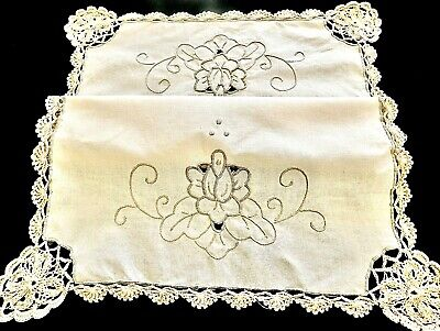 WONDERFUL HANDCRAFTED ECRU COTTON EMBROIDERY / CROCHET 12 TABLEMATS UNUSED