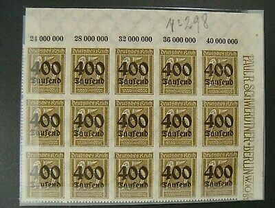 """GERMANIA, GERMANY 1923 REICH Inflaction """"F del 1923 SVR """" 400su 25 MNH blocco 15"""
