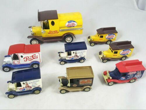 BIG Estate Lot COLLECTION of 8 VTG Pepsi Cola Model T Die Cast Trucks Vans
