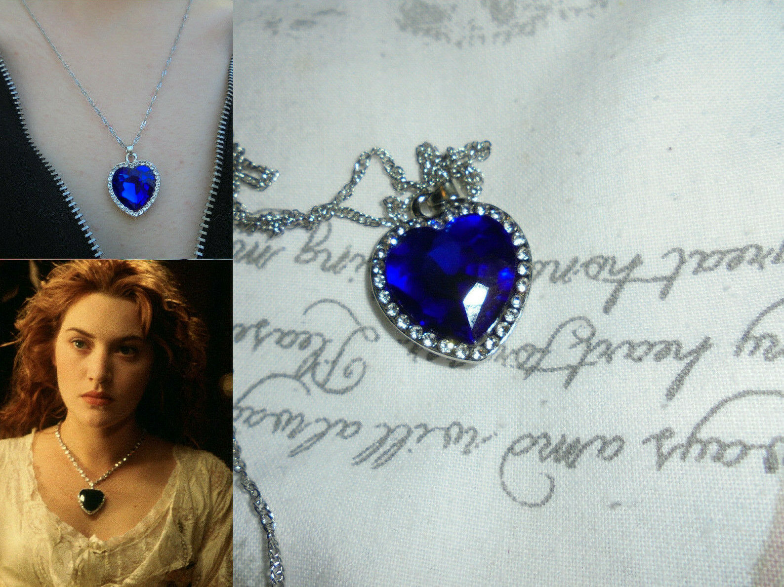 Jewellery - Titanic The Heart of Ocean Necklace Gift Jewellery Blue Diamond Heart