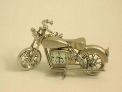 Bey- Berk Small Milwaukee Bike Desk Clock Silver Finish