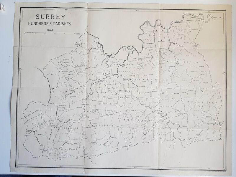 Rare 1920s/30s? map HUNDREDS & PARISHES Of Surrey 43 x 56.5cm