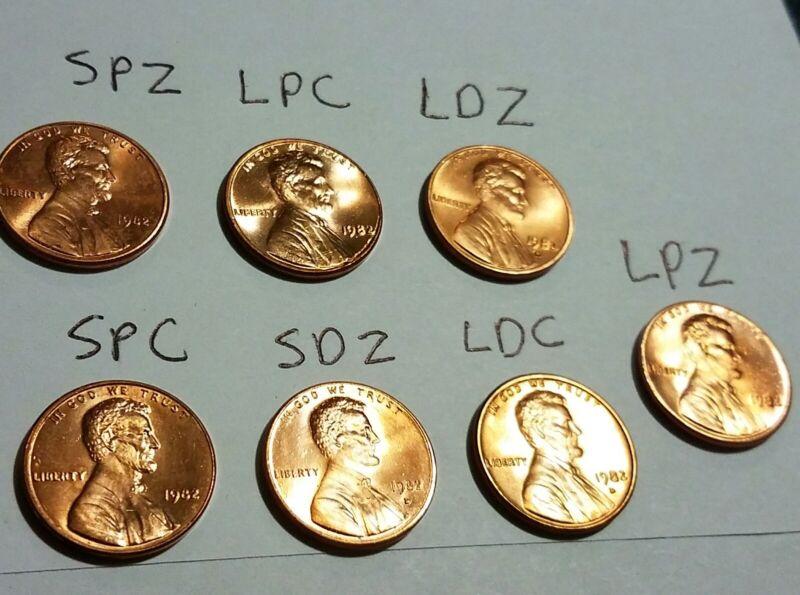 1982 Lincoln Cent BU - Complete 7 Coin set Small & Large P&D Zinc & Copper
