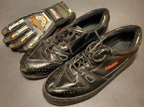 Asham Curling Shoes Mens Size 9 Left Slider w New pair of Curling Gloves