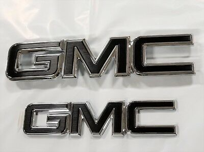 2015-2018 GMC Sierra Grille and Tailgate GM Black Emblems 84395038 OEM GM New OE