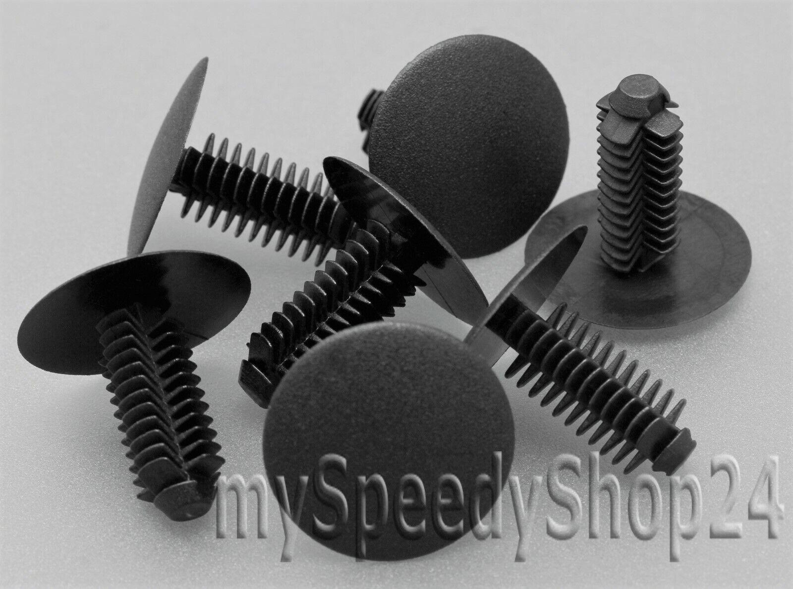 50x Innenverkleidung Befestigung Clips schwarz Abdeckstopfen Ø 9mm Kopf 24mm