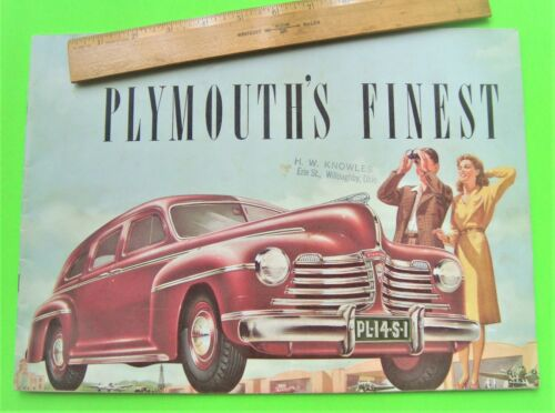 rare 1942 PLYMOUTH HUGE PRESTIGE BROCHURE 24-pgs WOODIE WAGON Convertible VG+++
