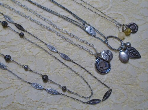 ASSORTED PEWTER TONE MULTI STRAND LEAF FLOWER PENDANT CHAIN NECKLACE LOT