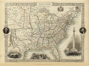 Old-Vintage-Map-of-United-States-of-America-richly-illustrated-Tallis-1851