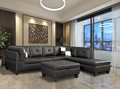 Nail Head 3 Piece Sectional Sofa Set Right -Facing chaise wi