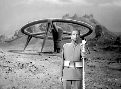 """1966's LOST IN SPACE """"The Keeper Michael Rennie & spaceship b/w 8x10 composite"""