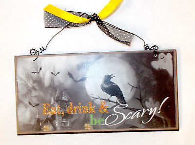 MDF Halloween Black Orange White Green Eat Drink and Be Scary Wall Decor Sign  - Orange And Black Halloween Drink