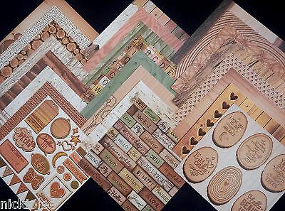 12X12 Scrapbook Paper Cardstock DCWV Good Wood Rustic Wedding Love Nature 24 Lot - Wedding Scrapbook Paper