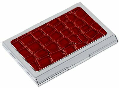 Slim Genuine Crocodile Red Leather Business Card Holder