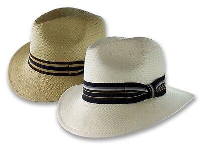 Safari Toyo Straw Panama Hat Fedora Beige White Size S M L XL New Mens