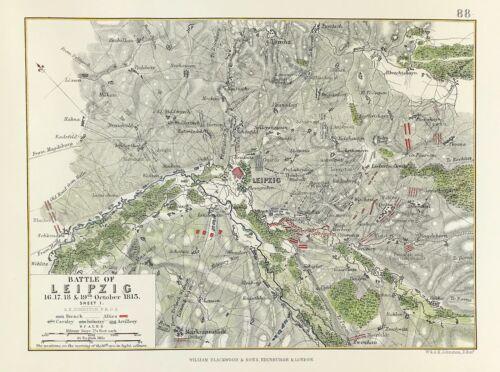 Battle of Leipzig Military Plan 1813 Napoleonic Wars for Alison Atlas 1875