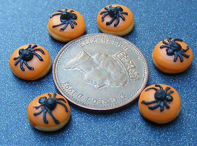 1:12 Scale 7 Loose Black Spider Halloween Cakes Dolls House Bakery Food PL119 - Halloween Food Bread