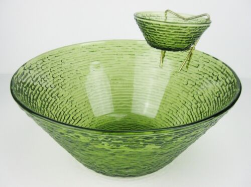 Vintage Mid-Century Mod Anchor Hocking Soreno Avocado Green Glass Chip & Dip Set