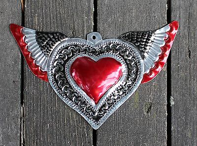 Love Token Stamped Tin Milagro Heart with Wings Oaxaca Mexico Hand Made Folk Art