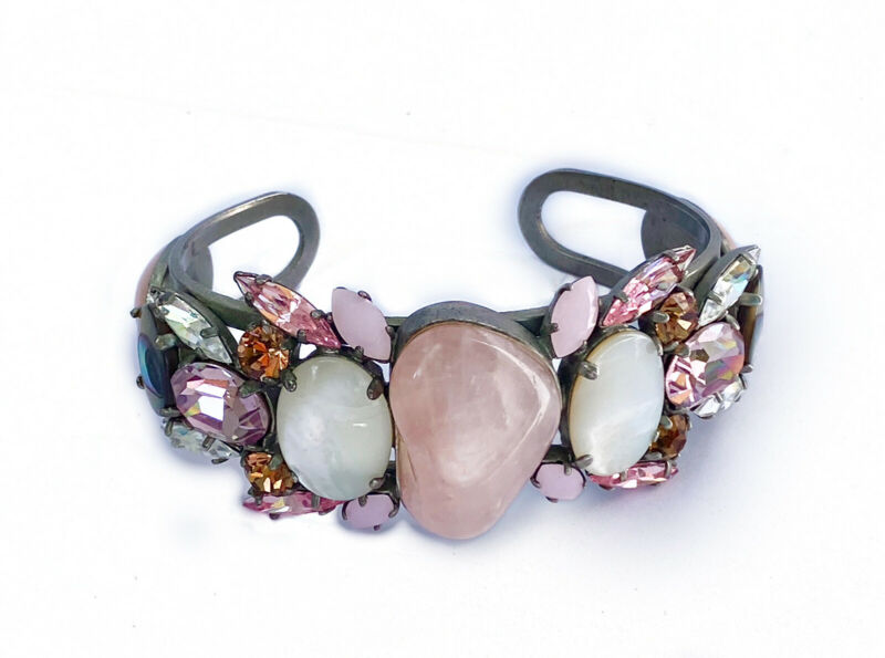Philippe Ferrandis Paris Signed Cabochon Stone Jeweled Cuff Bracelet