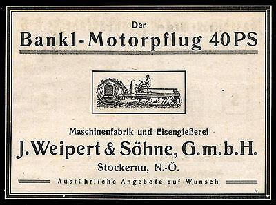 Alte Werbung 1921 Bankl-Motorpflug 40 PS Maschinenfabrik Eisengießerei Weippert