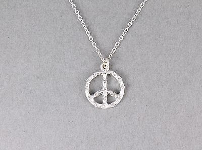 Silver peace sign necklace crystal small peace symbol pendant necklace 16