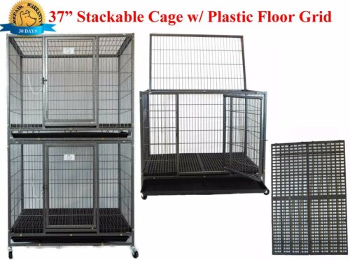"""New 37"""" Homey Pet Metal Heavy Duty Dog Cat Cage Crate Kennel w Plastic Flooring"""