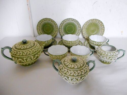 Very Fine Antique Asian Moriage Tea Set Nice Thick Decoration