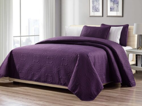 3-Piece King Purple Linen Plus Collection Oversized Bedsprea