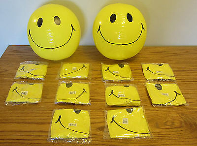 """12 NEW LARGE 15"""" SMILE FACE INFLATABLE BEACH BALLS  POOL BEACHBALL PARTY FAVORS"""