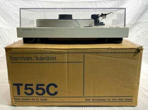 Harman Kardon T55C Floating Suspension Turntable w/ Record Weight & Original Box