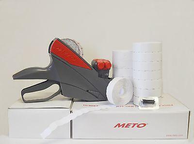Meto Price Label Gun 2 Line 58dgt White Labels 14rolls Ink Roller